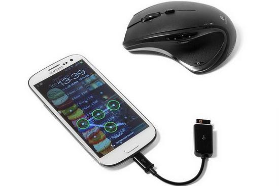Мышка подключена к Андроиду через USB OTG