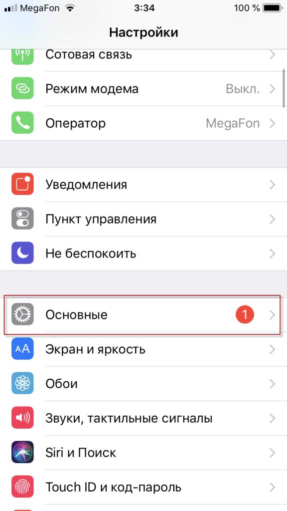 Вкладка Основные в айфоне