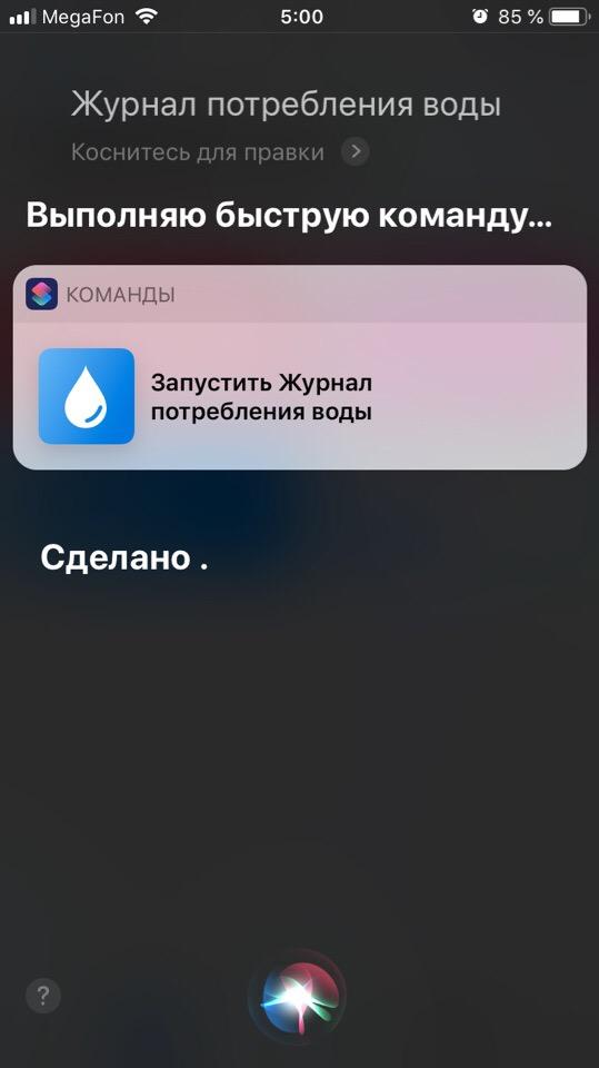 Пример запуска быстрой команды через голосой поиск Siri