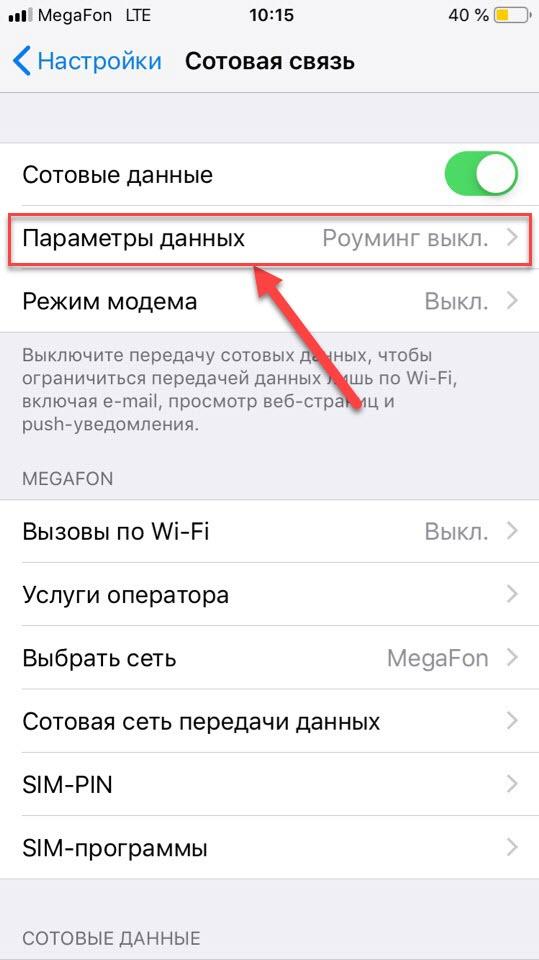 Пункт меню Параметры данных сотовой связи